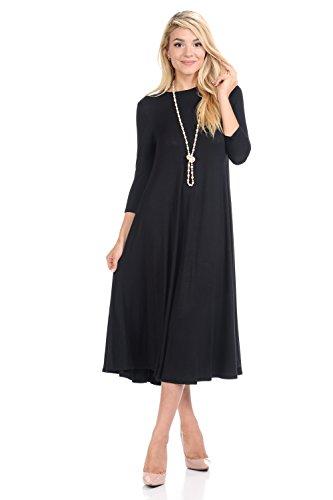 iconic luxe Women's A-Line Swing Trapeze Midi Dress Large Black