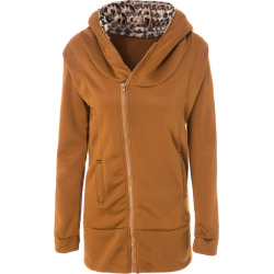 Hooded Long Sleeve Leopard Print Zippered