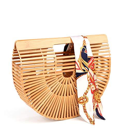 Bamboo Handbag Handmade Tote Bag Handle Straw Beach Bag for Women By Samuel (7.87″x11.02″x2.99″)