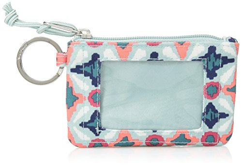 Vera Bradley Lighten up Zip ID Case, Polyester, Water Geo