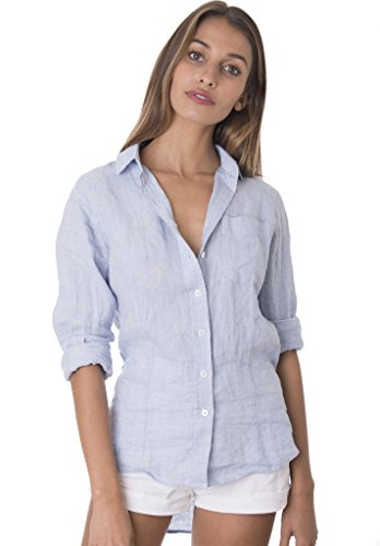 CAMIXA Women's Crushed Linen Casual Button-Down Shirt Start from The Basic XS Azure Melange