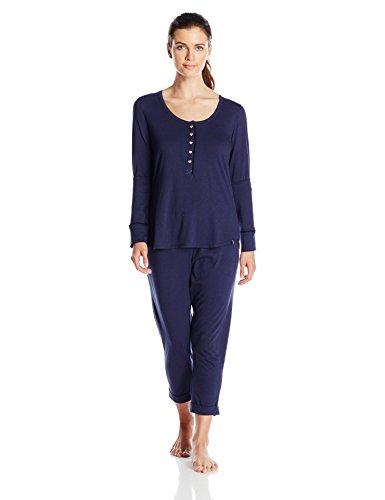 Tommy Hilfiger Women's Long Sleeve Henley Capri Pant Pajama Set, Peacoat, Small