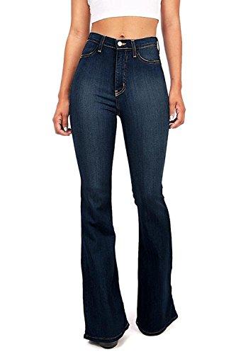 Vibrant Women's Juniors Bell Bottom High Waist Fitted Denim Jeans,Super Dark Denim,7
