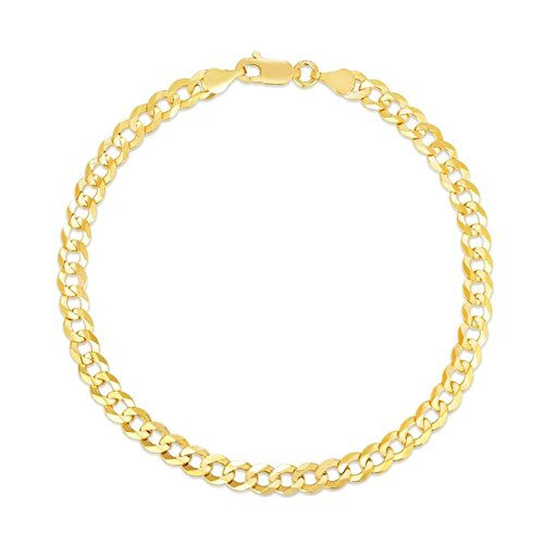BH 5 Star Jewelry 10k Fine gold Curb Cuban Chain Bracelet and Anklet, 0.16 Inch (4mm) (yellow-gold)
