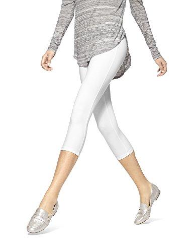HUE Women's Temp Control Cotton Capri Leggings,White,Large