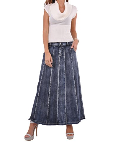 Style J Blue Waterfall Long Denim Skirt-Brushed Blue-32(12)