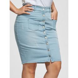 Light Wash Button Up Bodycon Denim Skirt