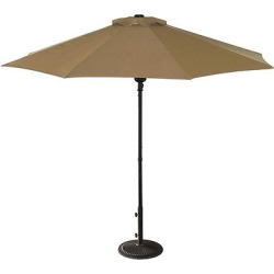 Island Umbrella Cabo 9′ Market Umbrella in Stone (Grey) Olefin