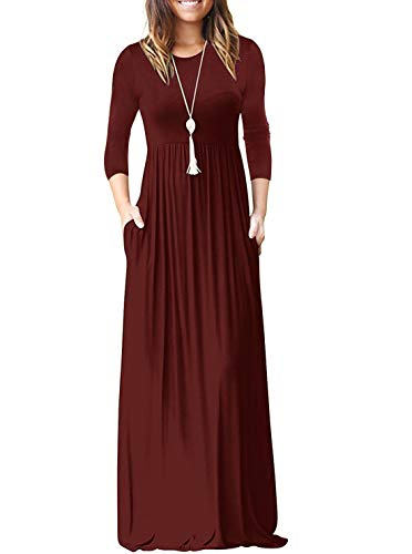 Women's Round Neck 3/4 Sleeve A-line Loose Maxi Dresses Plus Size Casual Long Dress with Pockets Burgundy 2X-Large