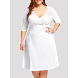 Women's Aline Dress Solid Color Patchwork V Neck Plus Size Midi Dress