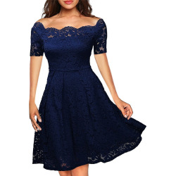 2017 Summer Embroidery Sexy Women Lace Off Shoulder  Short Sleeve Casual Evening Party A Line Formal Dress