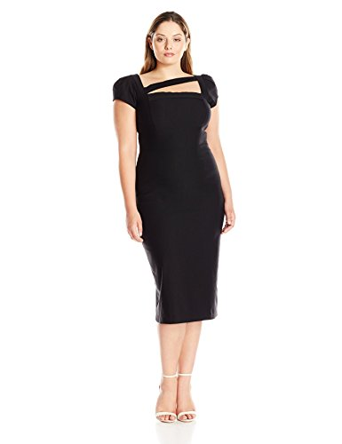 Stop Staring Women's Plus Size Malana Fitted Dress, Black, 26W