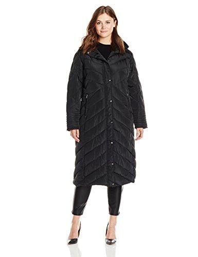 Madden Girl Women's Plus-Size Long Maxi Puffer in Plus Sizes, Black, 1X