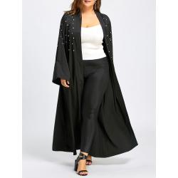 Plus Size Beaded Long Maxi Coat