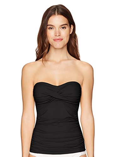 Anne Cole Women's Solid Twist Front Shirred Bandeau Tankini Swim Top, Black I, Medium