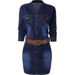 Buttoned Plus Size Denim Dress
