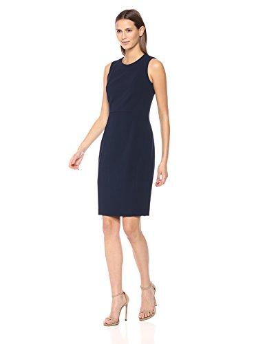 Calvin Klein Women's Scuba Crepe Sleeveless Princess Seam Sheath Dress, Indigo 18, 8