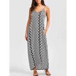 Geometric Print Slip Maxi Baggy Dress