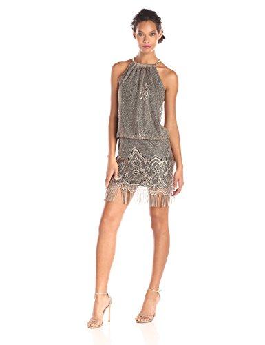 S.L. Fashions Women's Blouson Halter Crochet Dress, Gold, 6