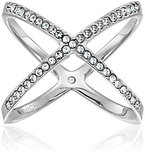 Michael Kors Pave X Silver Ring, Size 7