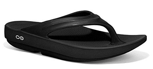 OOFOS Women's Oolala Thong Flip Flop, Black/Black, 10 M US