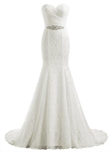Beautyprom Women's Lace Mermaid Bridal Wedding Dresses Ivory US6