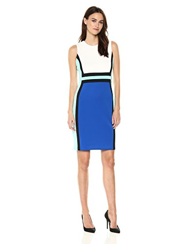 Calvin Klein Women's Sleeveless Color Block Sheath Dress, Winter White/Capri/Black/Sea Glass, 12