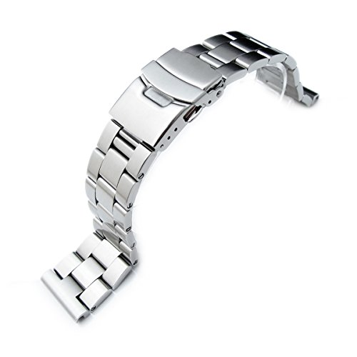 22mm 316L Solid Stainless Steel Oyster Straight End Watch Bracelet