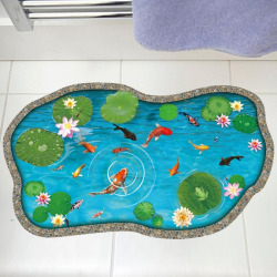 Lotus Pond Fish 3D Floor Sticker For Bedroom