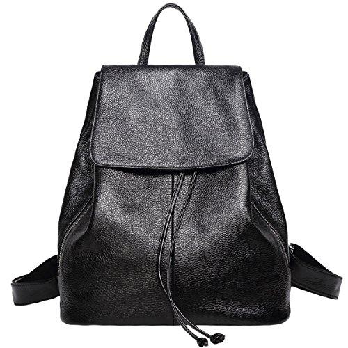 Genuine Leather Backpack for Women Elegant Ladies Travel School Shoulder Bag (Black)