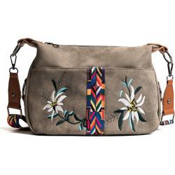 Diagonal Package Embroidery Flower Bangalor Nubuck Leather Hobo Bag Color Ribbon