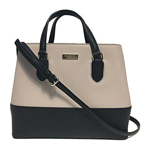 Kate Spade New York Laurel Way Evangelie Saffiano Leather Shoulder Bag Handbag, Almondine, Black