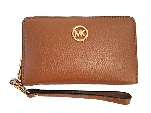 Michael Kors Fulton Large Flat Multifunction Leather Phone Case (Luggage Brown)