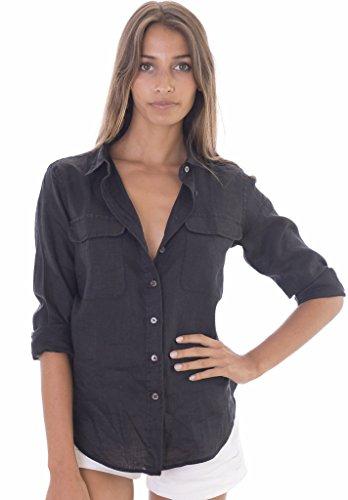 CAMIXA Women's Linen Button-Down Two Pockets Shirt Go Casual Cool L Black