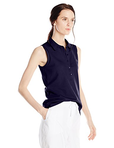 Lacoste Women's Sleeveless Stretch Pique Slim Fit Polo Shirt, Navy Blue, 44