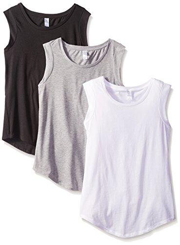 Alternative Women's The 3 Luxe Crew Cap Sleeve Shirt Set, Black/Grey/White, L