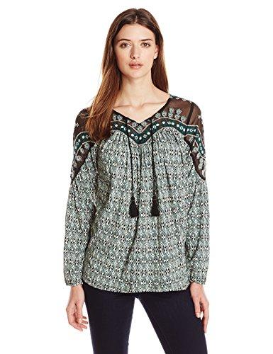 Lucky Brand Women's Folk Diamonds Top, Green/Multi, X-Small