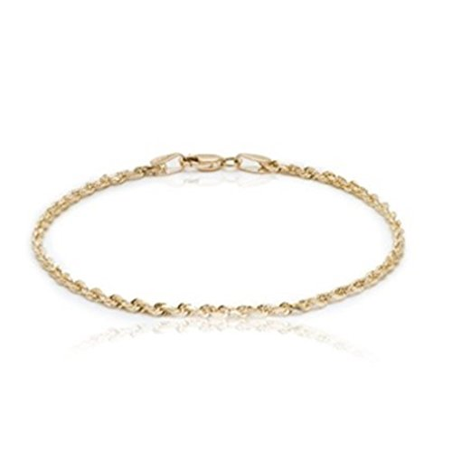 BH 5 Star Jewelry 10k Yellow Gold Solid Diamond Cut Rope Chain Bracelet and Anklet for Men & Women, 2.25mm (0.09″) (7)