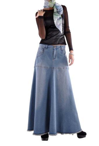 Style J Flowing Love Long Jean Skirt-Blue-30(10)