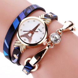 DUOYA D068 Fashion Ladies Watch Tower Dial Gemstone Leather Belt Dress Watch