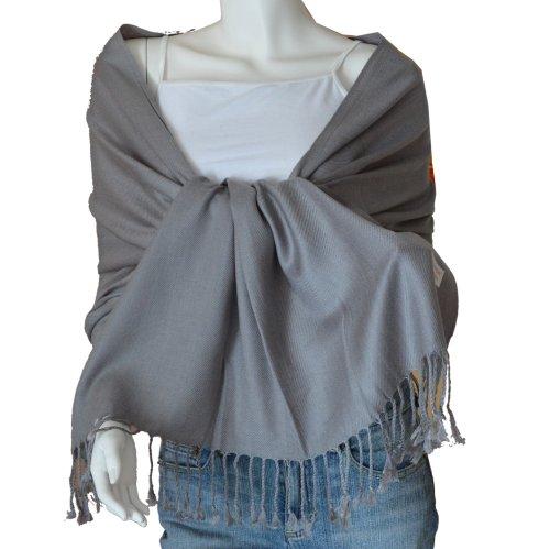 SCARF_TRADINGINC Large Soft 100% Twill Pashmina Scarf Shawl Wrap (Grey)