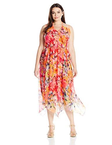 Modamix Women's Plus Size Printed Chiffon Handkerchief Dress, Flower Blast, 20W