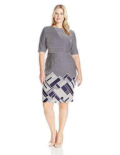 Gabby Skye Women's Plus Size Elbow Sleeve Round Neck Midi Sweater Sheath Dress, Navy/Cream, 16W
