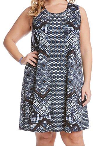 Karen Kane Women's Plus Size Sleeveless Maggie Trapeze Dress, Print, 1X