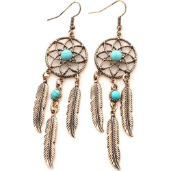 Faux Turquoise Dream Catcher Feather Earrings
