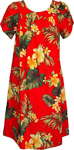 RJC Women's Tropical Summer Hibiscus Tea Length Hawaiian Muumuu House Dress Red 1X
