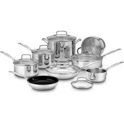 Cuisinart Chef's Classic Stainless Steel 14 Piece Cookware Set w/cover – 77-14N, Silver