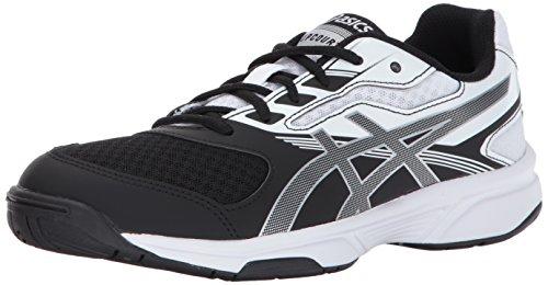 ASICS Women's Upcourt 2 Volleyball Shoe, Black/Silver/White, 10 Medium US