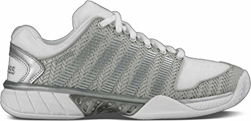 K-Swiss Women's Hypercourt Express Tennis Shoe-7.5-White/Silver