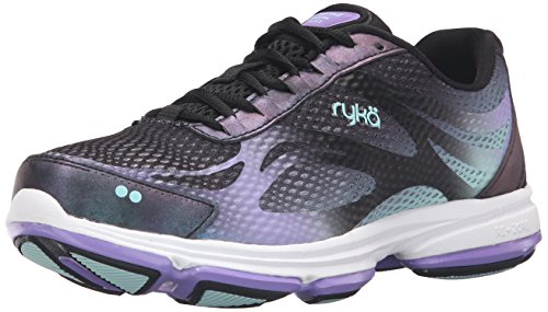 Ryka Women's Devo Plus 2 Walking Shoe, Black/Purple, 10 M US